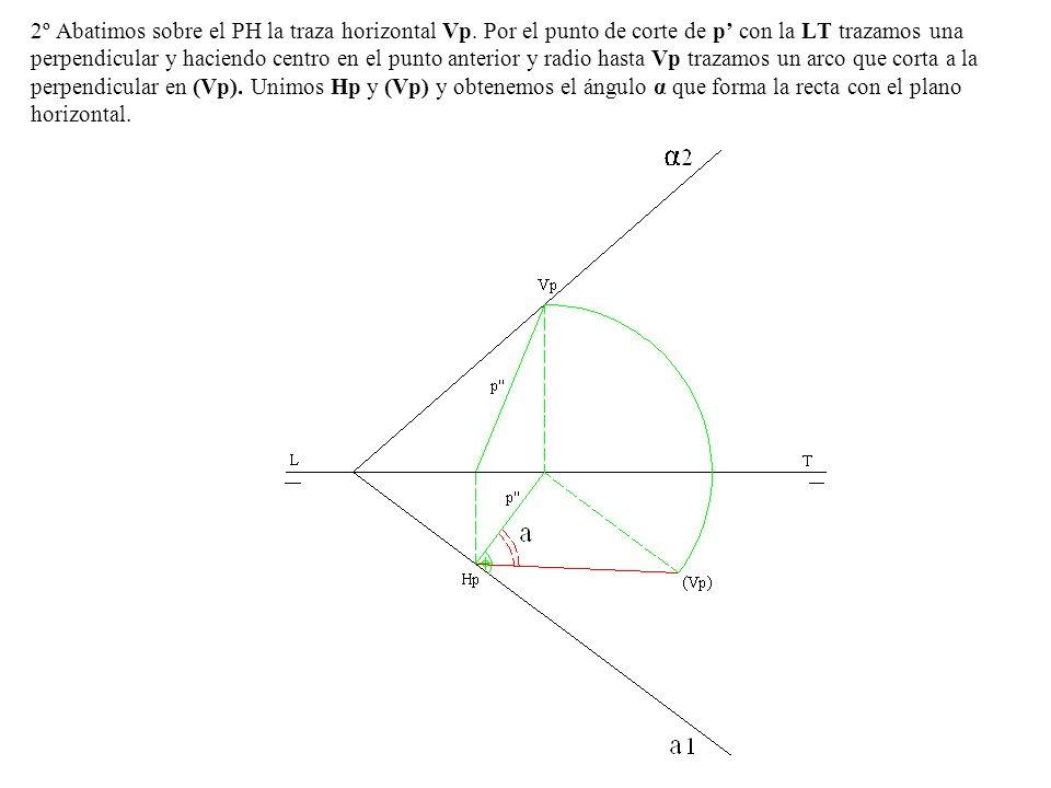 2º Abatimos sobre el PH la traza horizontal Vp. Por el punto de corte de p con la LT trazamos una perpendicular y haciendo centro en el punto anterior