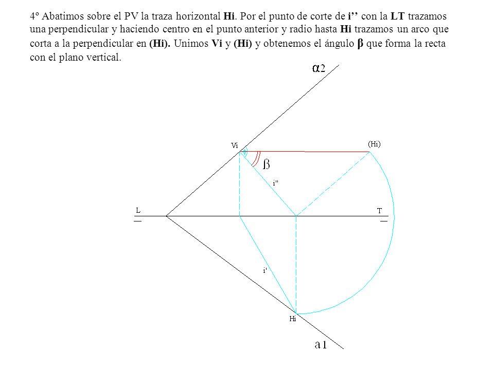 4º Abatimos sobre el PV la traza horizontal Hi. Por el punto de corte de i con la LT trazamos una perpendicular y haciendo centro en el punto anterior