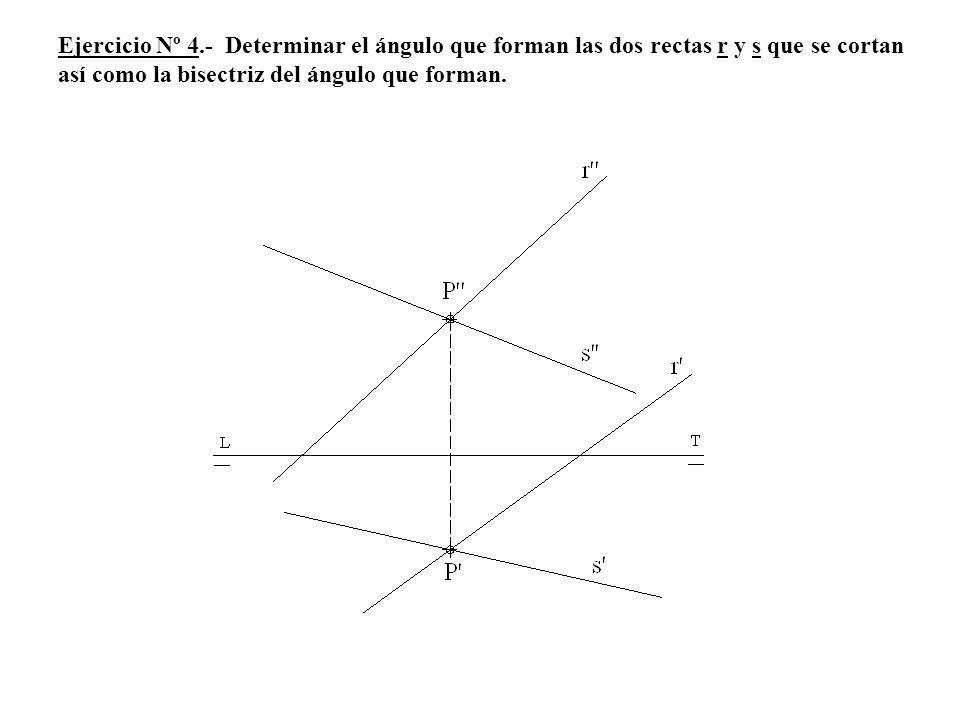 Ejercicio Nº 4.- Determinar el ángulo que forman las dos rectas r y s que se cortan así como la bisectriz del ángulo que forman.