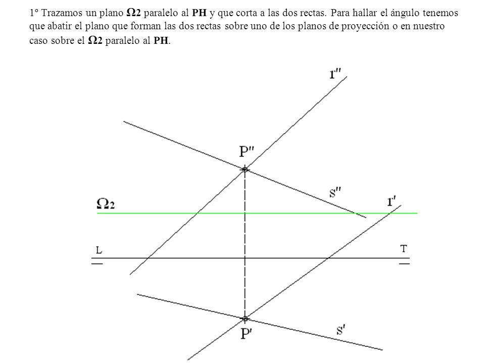 1º Trazamos un plano Ω 2 paralelo al PH y que corta a las dos rectas. Para hallar el ángulo tenemos que abatir el plano que forman las dos rectas sobr