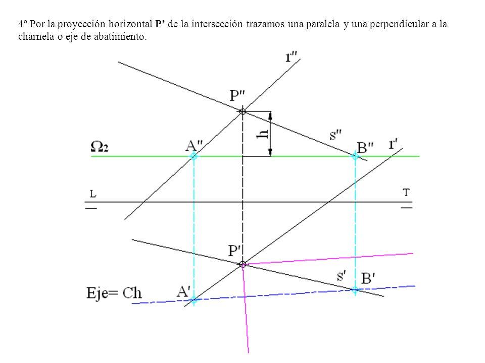 4º Por la proyección horizontal P de la intersección trazamos una paralela y una perpendicular a la charnela o eje de abatimiento.