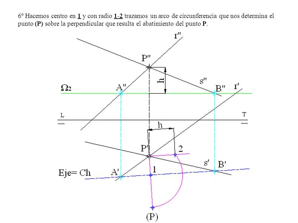 6º Hacemos centro en 1 y con radio 1-2 trazamos un arco de circunferencia que nos determina el punto (P) sobre la perpendicular que resulta el abatimi