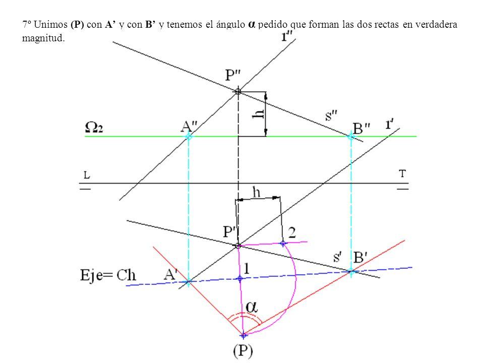 7º Unimos (P) con A y con B y tenemos el ángulo α pedido que forman las dos rectas en verdadera magnitud.