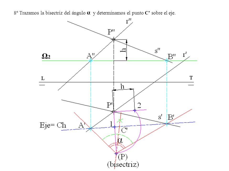 8º Trazamos la bisectriz del ángulo α y determinamos el punto C sobre el eje.