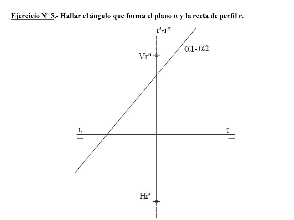 Ejercicio Nº 5.- Hallar el ángulo que forma el plano α y la recta de perfil r.