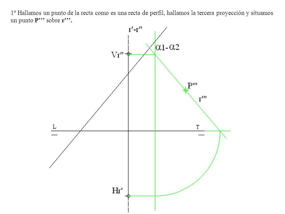 1º Hallamos un punto de la recta como es una recta de perfil, hallamos la tercera proyección y situamos un punto P sobre r.