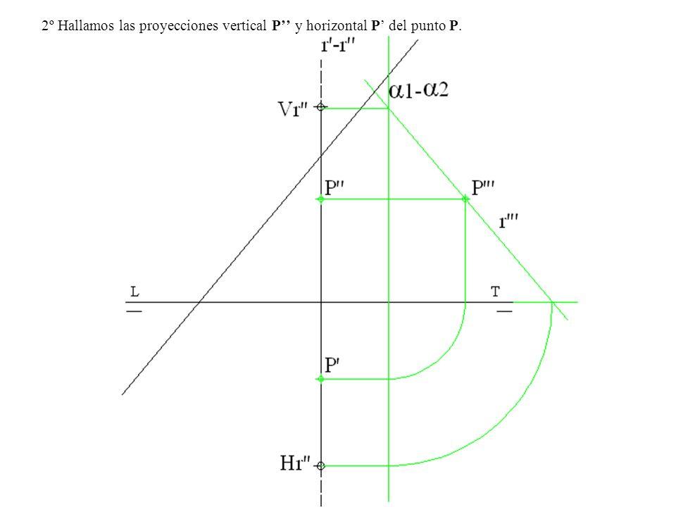 2º Hallamos las proyecciones vertical P y horizontal P del punto P.