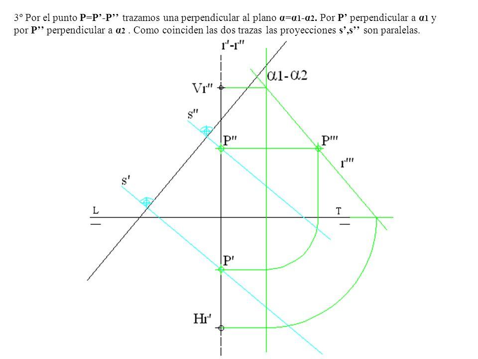3º Por el punto P=P-P trazamos una perpendicular al plano α=α 1 -α 2. Por P perpendicular a α 1 y por P perpendicular a α 2. Como coinciden las dos tr