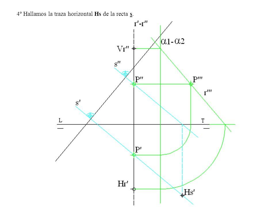 4º Hallamos la traza horizontal Hs de la recta s.