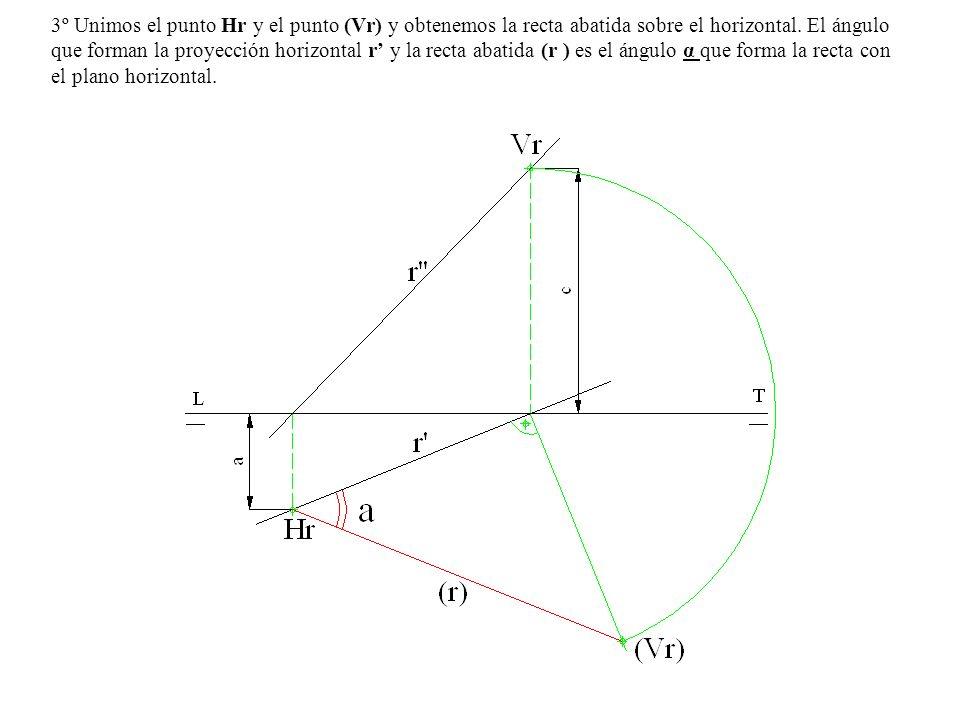 3º Unimos el punto Hr y el punto (Vr) y obtenemos la recta abatida sobre el horizontal. El ángulo que forman la proyección horizontal r y la recta aba