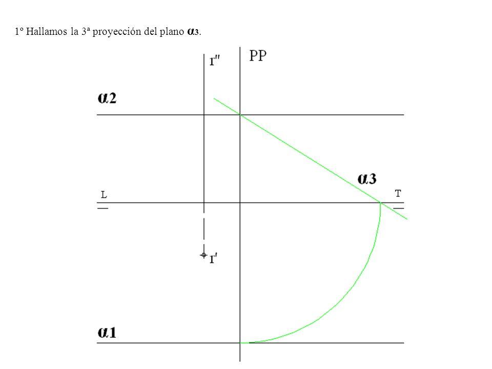 1º Hallamos la 3ª proyección del plano α 3.