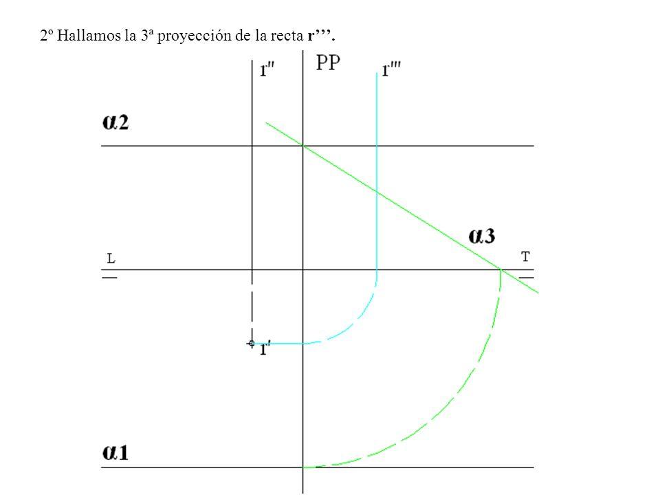 2º Hallamos la 3ª proyección de la recta r.