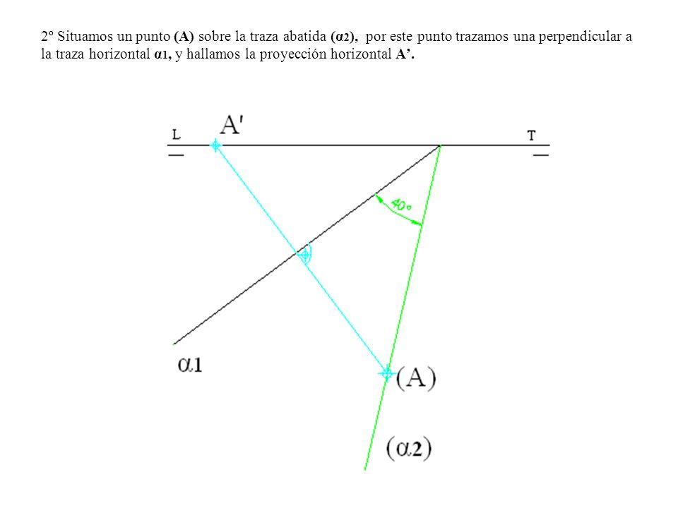 2º Situamos un punto (A) sobre la traza abatida (α 2 ), por este punto trazamos una perpendicular a la traza horizontal α 1, y hallamos la proyección