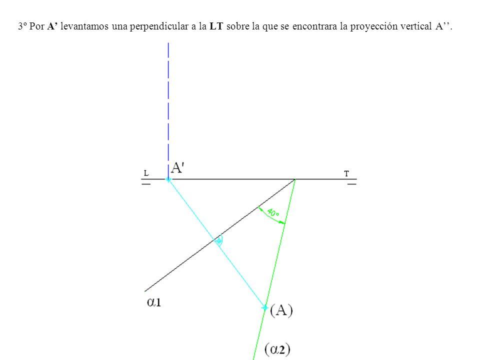 3º Por A levantamos una perpendicular a la LT sobre la que se encontrara la proyección vertical A.