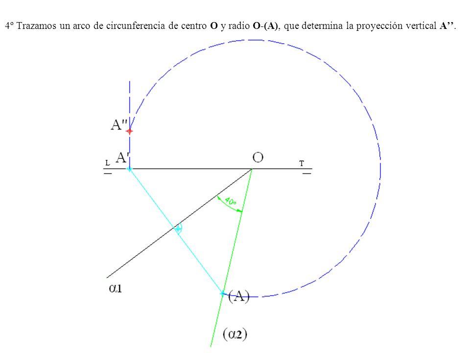 4º Trazamos un arco de circunferencia de centro O y radio O-(A), que determina la proyección vertical A.