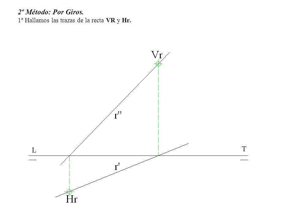 2º Método: Por Giros. 1º Hallamos las trazas de la recta VR y Hr.