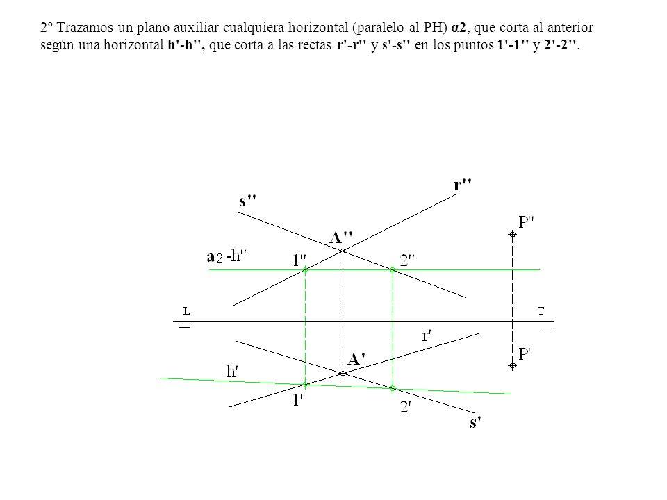 2º Trazamos un plano auxiliar cualquiera horizontal (paralelo al PH) α2, que corta al anterior según una horizontal h'-h'', que corta a las rectas r'-