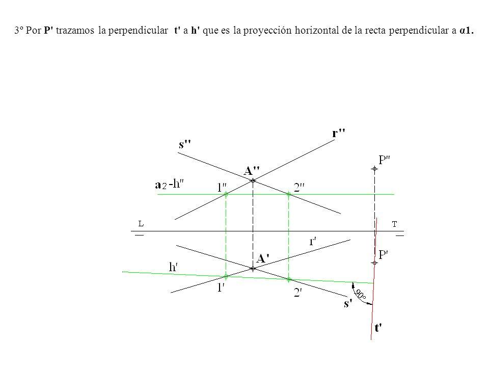 3º Por P' trazamos la perpendicular t' a h' que es la proyección horizontal de la recta perpendicular a α1.