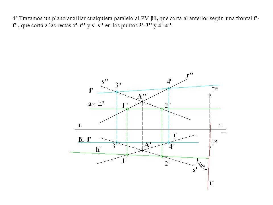 4º Trazamos un plano auxiliar cualquiera paralelo al PV β1, que corta al anterior según una frontal f'- f'', que corta a las rectas r'-r'' y s'-s'' en
