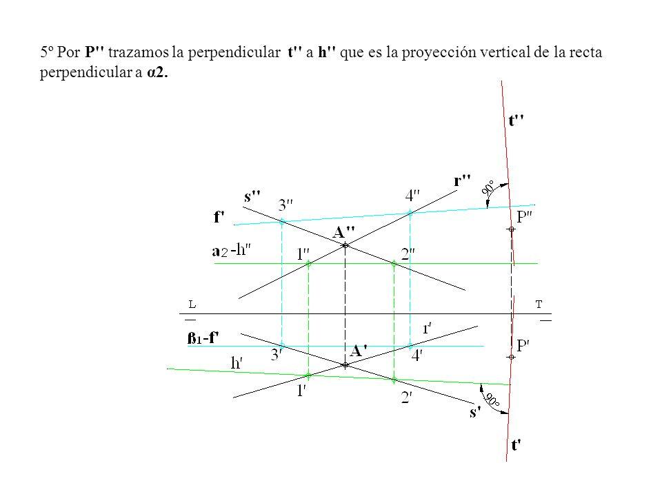 5º Por P'' trazamos la perpendicular t'' a h'' que es la proyección vertical de la recta perpendicular a α2.