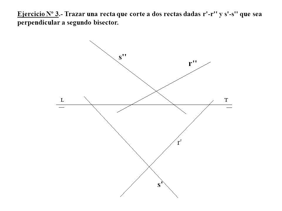 Ejercicio Nº 3.- Trazar una recta que corte a dos rectas dadas r'-r'' y s'-s'' que sea perpendicular a segundo bisector.