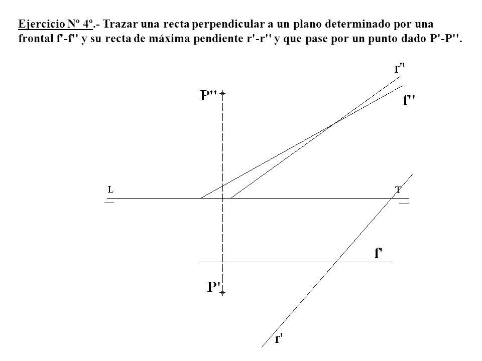 Ejercicio Nº 4º.- Trazar una recta perpendicular a un plano determinado por una frontal f'-f'' y su recta de máxima pendiente r'-r'' y que pase por un