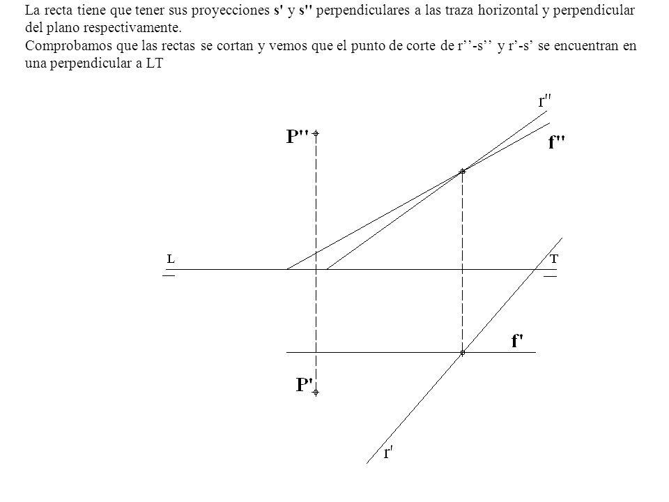 La recta tiene que tener sus proyecciones s' y s'' perpendiculares a las traza horizontal y perpendicular del plano respectivamente. Comprobamos que l