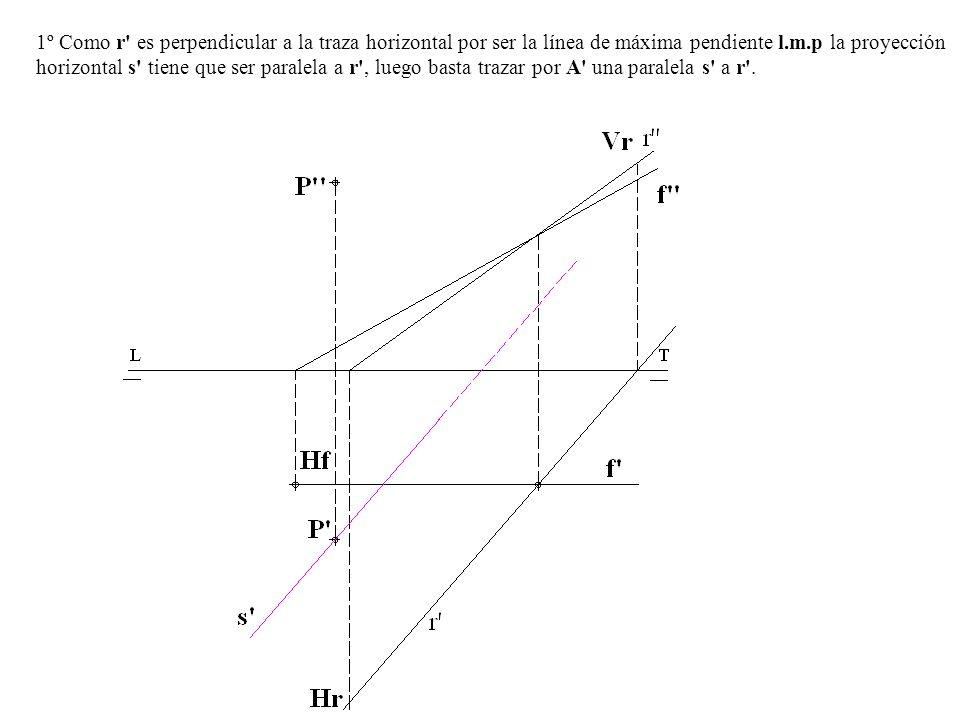 1º Como r' es perpendicular a la traza horizontal por ser la línea de máxima pendiente l.m.p la proyección horizontal s' tiene que ser paralela a r',