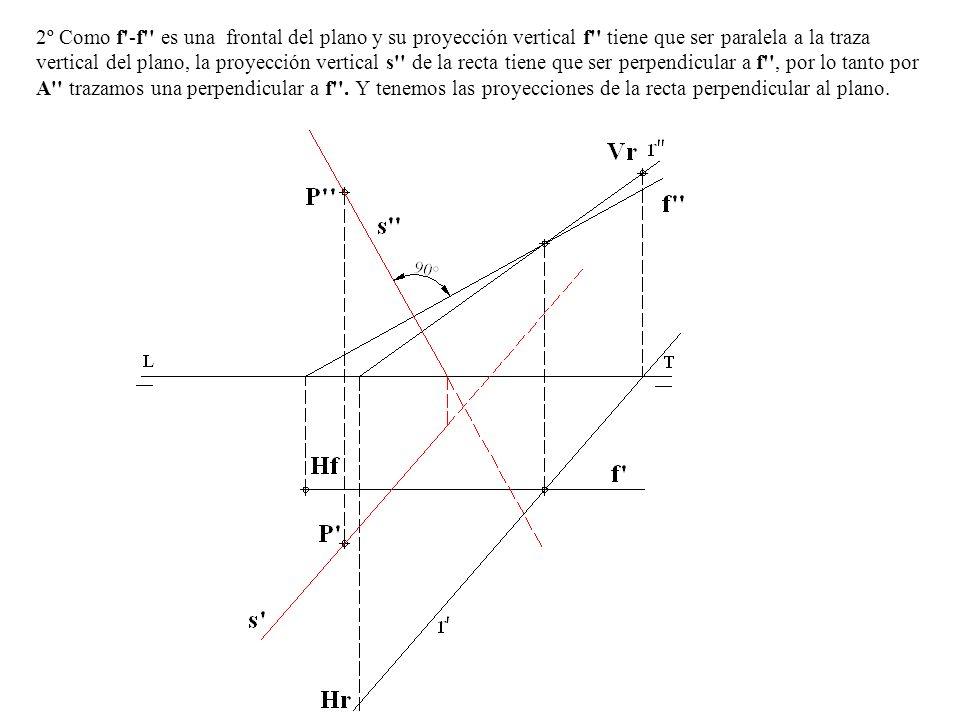 2º Como f'-f'' es una frontal del plano y su proyección vertical f'' tiene que ser paralela a la traza vertical del plano, la proyección vertical s''
