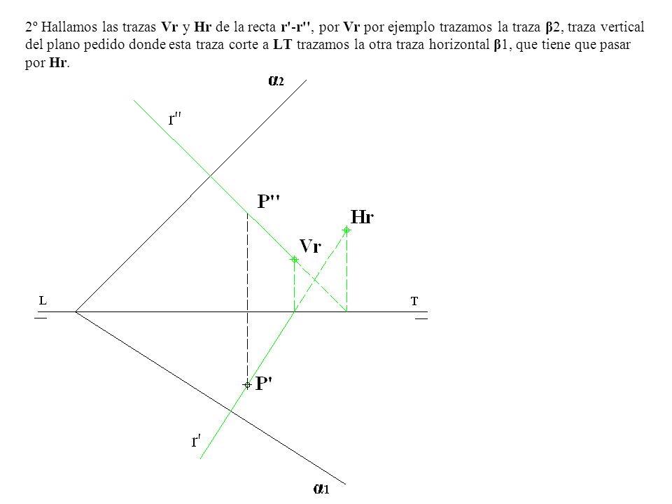 2º Hallamos las trazas Vr y Hr de la recta r'-r'', por Vr por ejemplo trazamos la traza β2, traza vertical del plano pedido donde esta traza corte a L