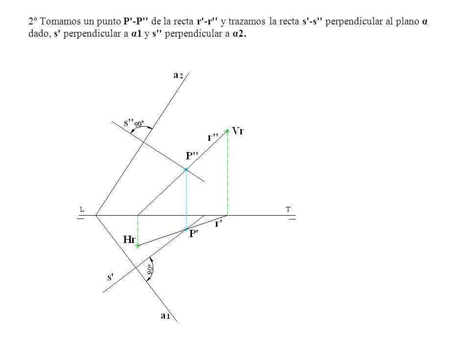 2º Tomamos un punto P'-P'' de la recta r'-r'' y trazamos la recta s'-s'' perpendicular al plano α dado, s' perpendicular a α1 y s'' perpendicular a α2