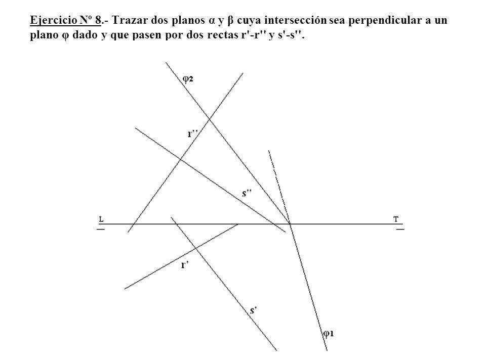 Ejercicio Nº 8.- Trazar dos planos α y β cuya intersección sea perpendicular a un plano φ dado y que pasen por dos rectas r'-r'' y s'-s''.