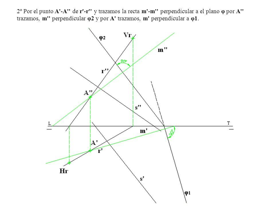 2º Por el punto A'-A'' de r'-r'' y trazamos la recta m'-m'' perpendicular a el plano φ por A'' trazamos, m'' perpendicular φ2 y por A' trazamos, m' pe