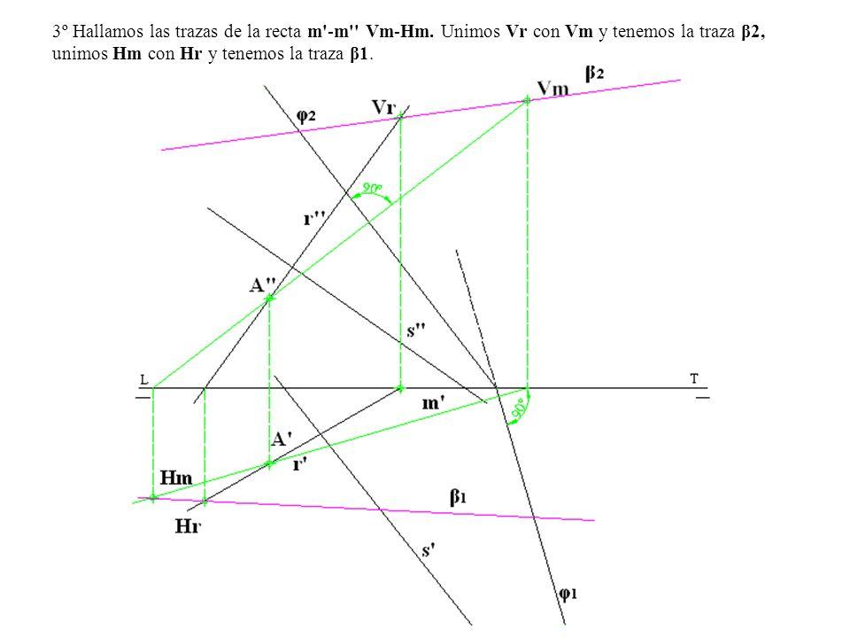3º Hallamos las trazas de la recta m'-m'' Vm-Hm. Unimos Vr con Vm y tenemos la traza β2, unimos Hm con Hr y tenemos la traza β1.