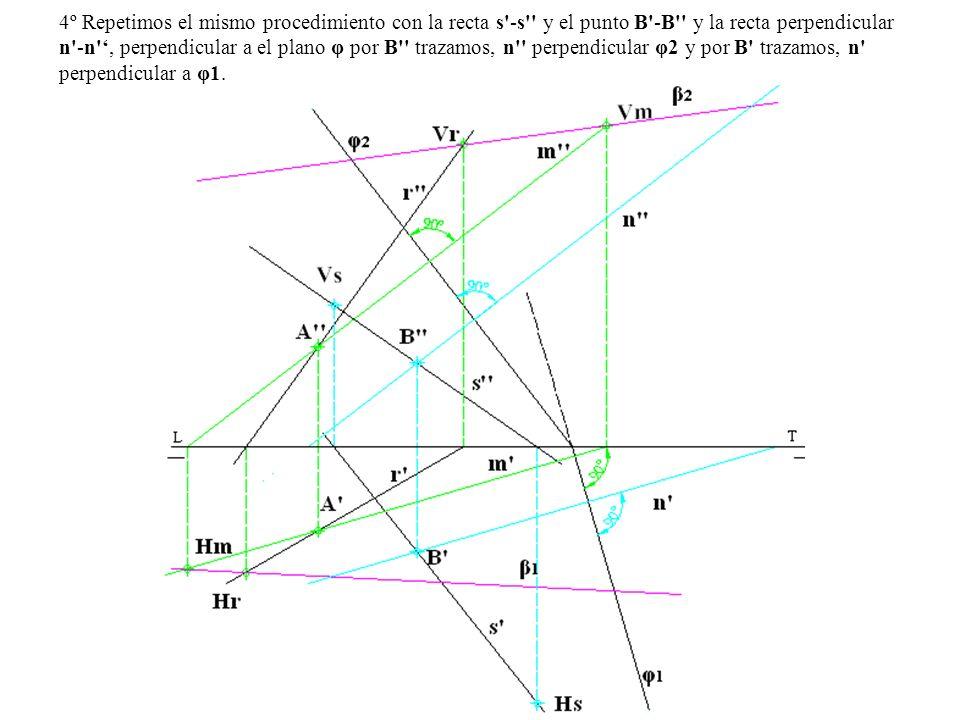 4º Repetimos el mismo procedimiento con la recta s'-s'' y el punto B'-B'' y la recta perpendicular n'-n', perpendicular a el plano φ por B'' trazamos,
