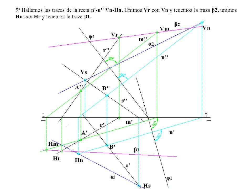 5º Hallamos las trazas de la recta n'-n'' Vn-Hn. Unimos Vr con Vn y tenemos la traza β2, unimos Hn con Hr y tenemos la traza β1.
