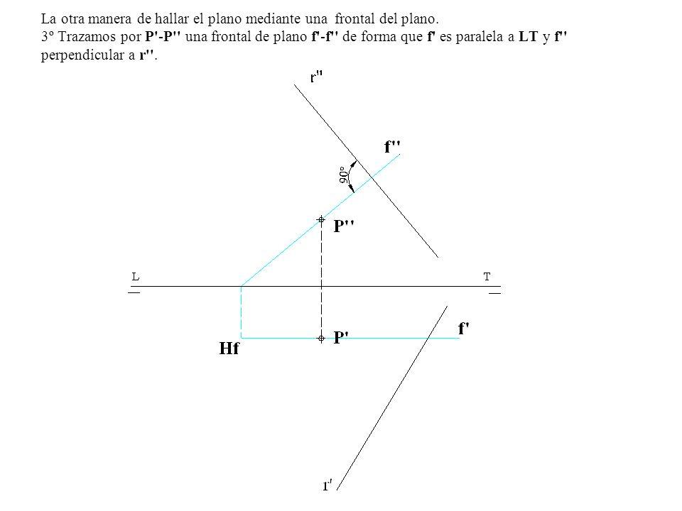 4º Hallamos la traza horizontal HF de la frontal f -f y por esta trazamos α1 perpendicular a r , desde el punto de corte de α1 con LT trazamos α2 perpendicular a r y tenemos el plano α1-α2 perpendicular a r - r y que pasa por el punto P -P .