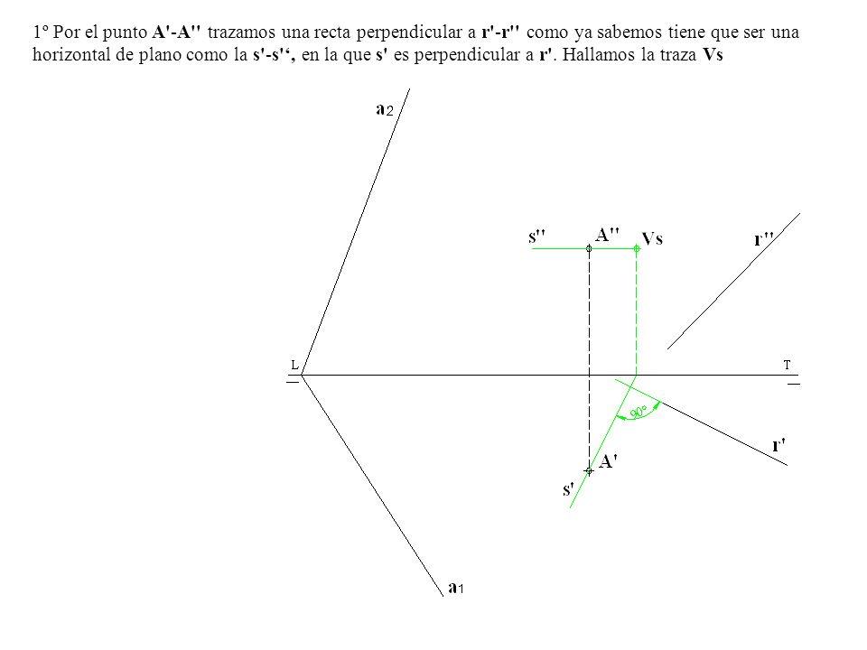1º Por el punto A'-A'' trazamos una recta perpendicular a r'-r'' como ya sabemos tiene que ser una horizontal de plano como la s'-s', en la que s' es