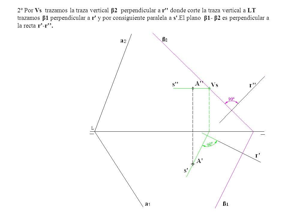2º Por Vs trazamos la traza vertical β2 perpendicular a r'' donde corte la traza vertical a LT trazamos β1 perpendicular a r' y por consiguiente paral