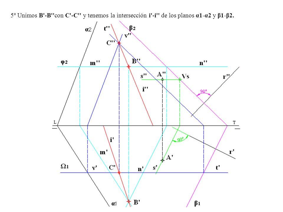 5º Unimos B'-B''con C'-C'' y tenemos la intersección i'-i'' de los planos α1-α2 y β1-β2.