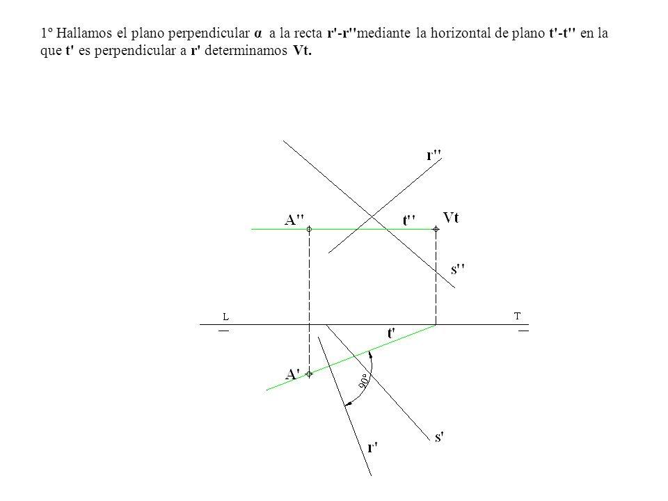 1º Hallamos el plano perpendicular α a la recta r'-r''mediante la horizontal de plano t'-t'' en la que t' es perpendicular a r' determinamos Vt.