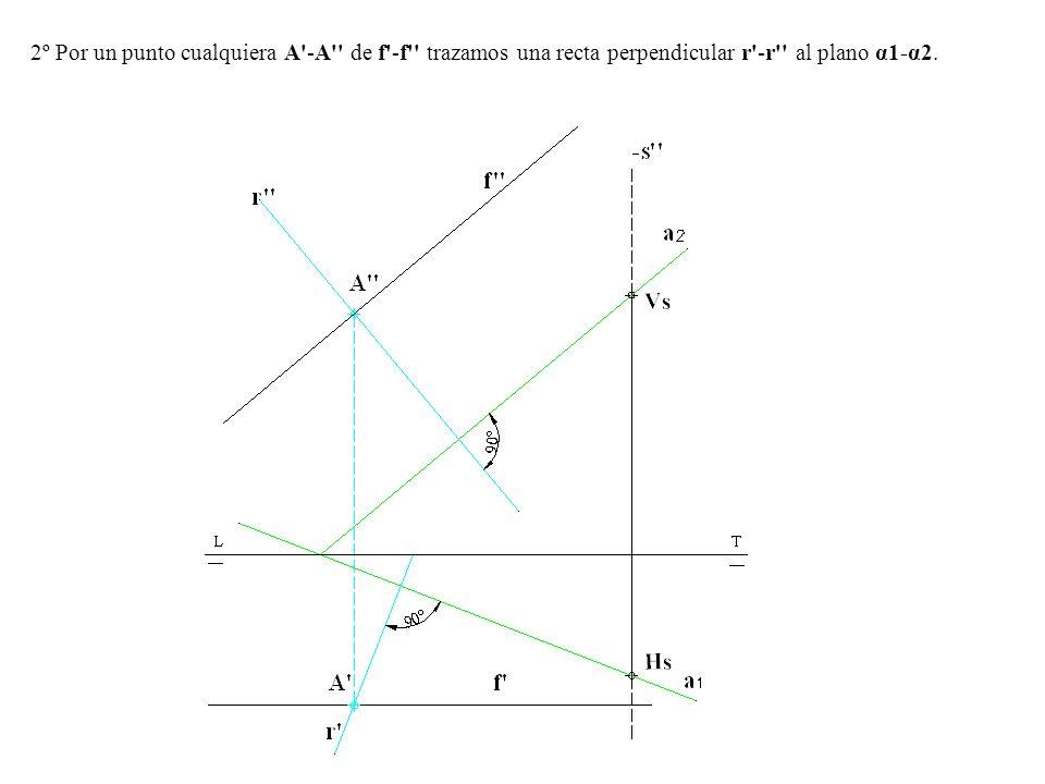 2º Por un punto cualquiera A'-A'' de f'-f'' trazamos una recta perpendicular r'-r'' al plano α1-α2.