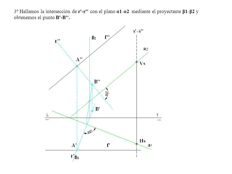 3º Hallamos la intersección de r'-r'' con el plano α1-α2 mediante el proyectante β1-β2 y obtenemos el punto B'-B''.