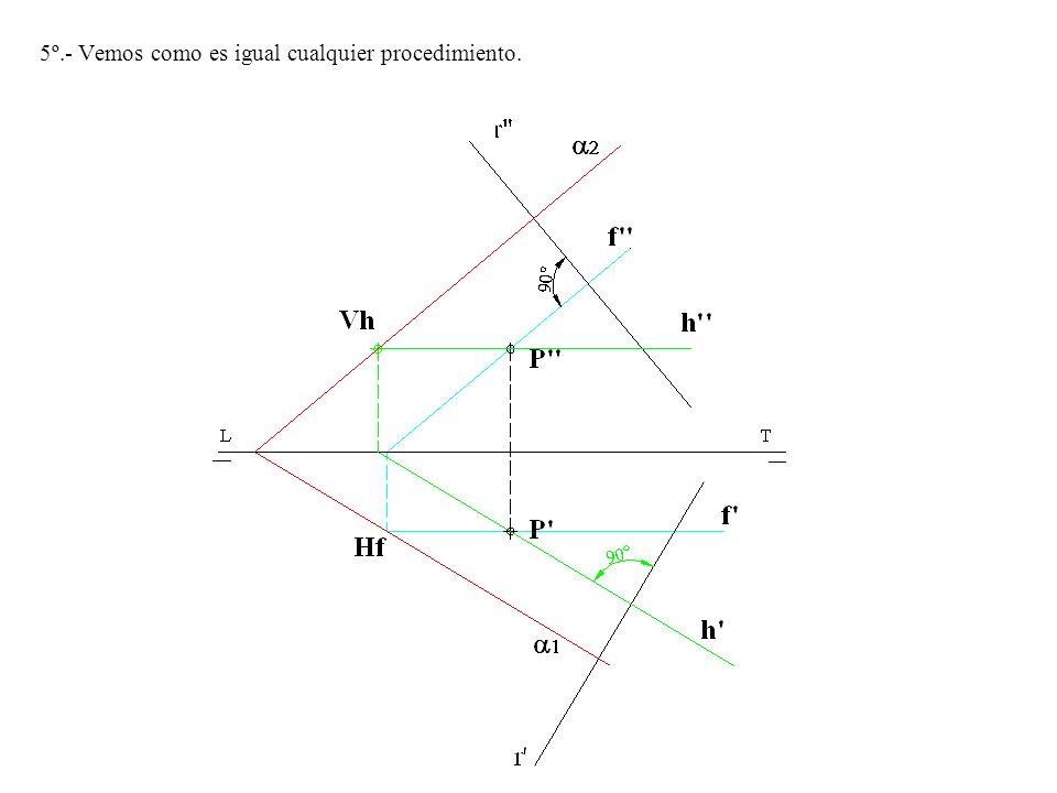 Ejercicio Nº 2.- Trazar una recta que pase por un punto dado P -P y sea perpendicular a un plano determinado por dos rectas, que el punto de corte con LT se encuentra fuera de los límites del dibujo.