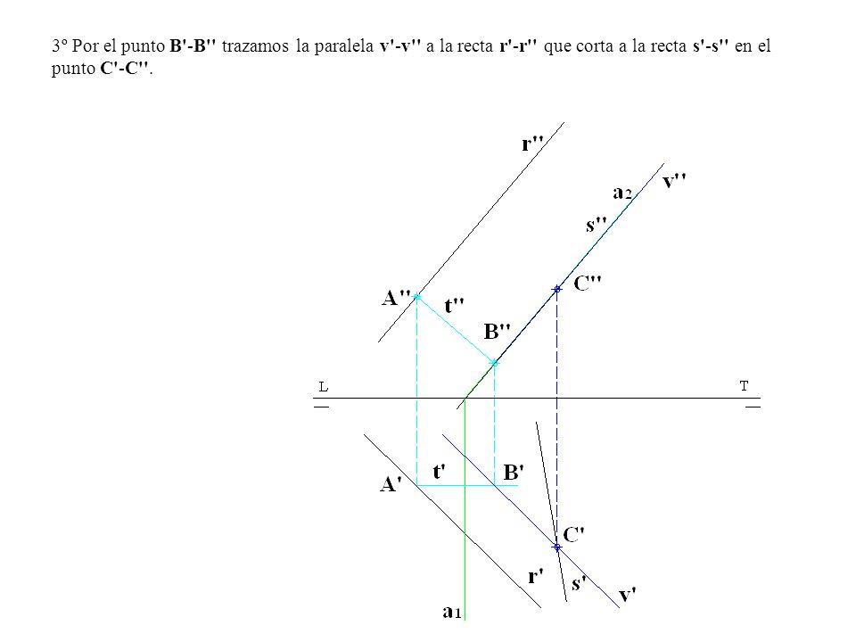 3º Por el punto B'-B'' trazamos la paralela v'-v'' a la recta r'-r'' que corta a la recta s'-s'' en el punto C'-C''.