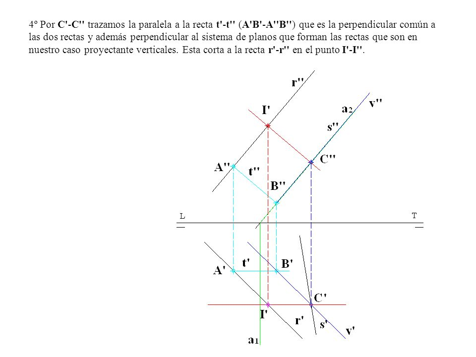 4º Por C'-C'' trazamos la paralela a la recta t'-t'' (A'B'-A''B'') que es la perpendicular común a las dos rectas y además perpendicular al sistema de