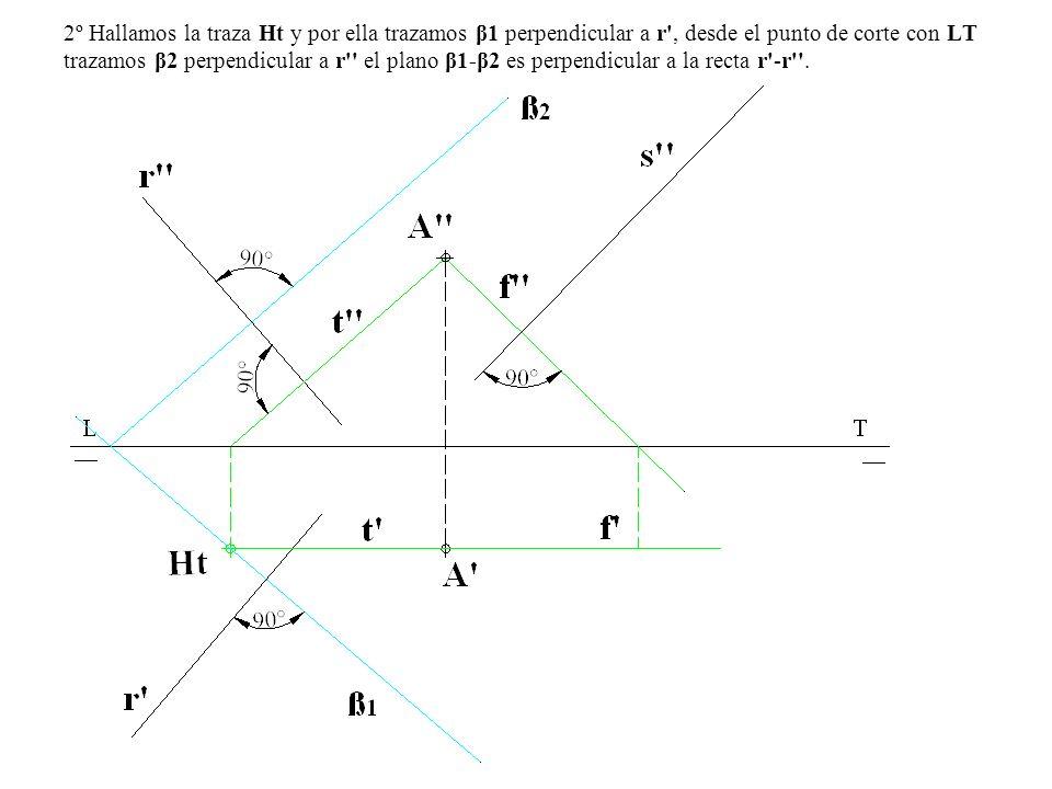 2º Hallamos la traza Ht y por ella trazamos β1 perpendicular a r', desde el punto de corte con LT trazamos β2 perpendicular a r'' el plano β1-β2 es pe