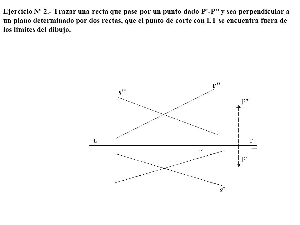 Ejercicio Nº 2.- Trazar una recta que pase por un punto dado P'-P'' y sea perpendicular a un plano determinado por dos rectas, que el punto de corte c