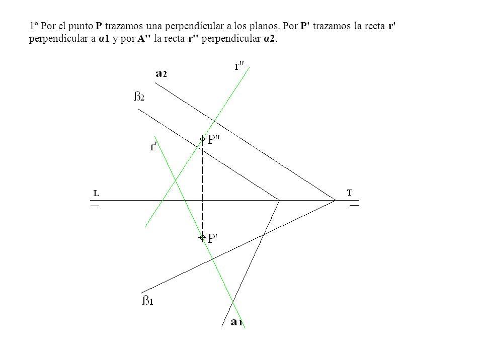 1º Por el punto P trazamos una perpendicular a los planos. Por P' trazamos la recta r' perpendicular a α1 y por A'' la recta r'' perpendicular α2.