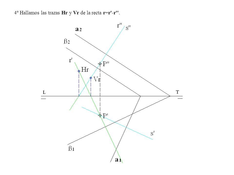 4º Hallamos las trazas Hr y Vr de la recta r=r'-r''.